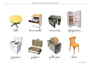 imagier ustensiles de cuisine couleur criture cursive